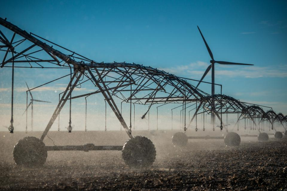 In irrigation pivot on a field in Burley